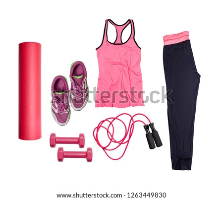 Flat lay on white background of dumbbell, sport t-shirt, jump rope, sneaker, sport equipments, fitness items, top view. Сток-фото ©