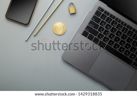 Flat lay photo of office desk with laptop, smartphone, eyeglasses and notebook with copy space background  #1429318835