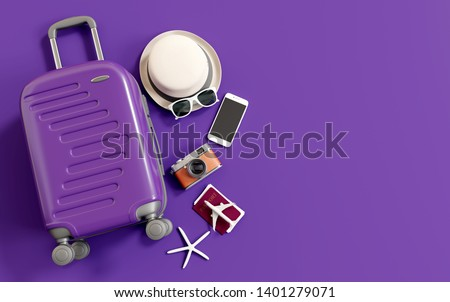 Flat lay purple suitcase with traveler accessories on purple background. travel concept. 3d rendering