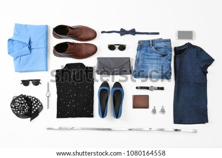 Flat lay set of stylish clothes and accessories on white background