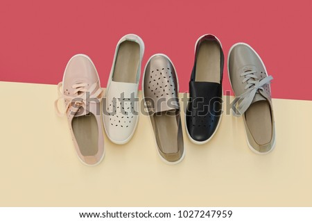 flat lay, sneakers shoes on colourful background. #1027247959