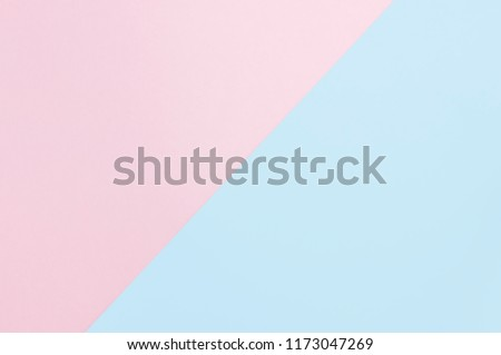 Flat lay soft pink and light blue pastel color paper geometric background, minimal concept. Design background for mock up. #1173047269