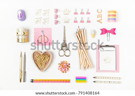Flat lay stylish set: Clipboard mockup, washi tape, note on white background. School stationery. Back to school concept.