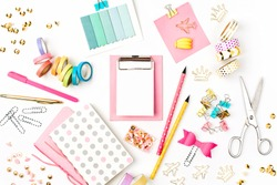 Flat lay stylish set. School stationery. Back to school concept.
