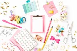 Flat lay stylish set. School stationery. Back to school concept.