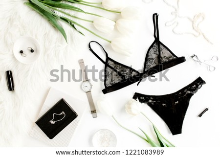 552935ad6e6 Flat lay stylish, sexy, black lingerie, accessories on a white background.  Top