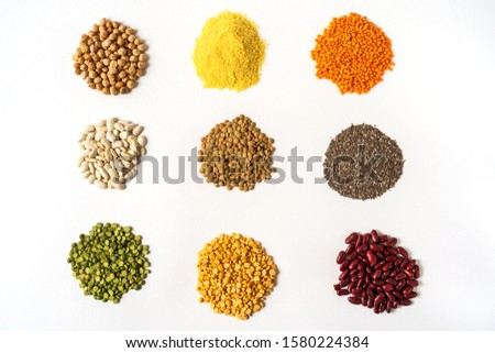 Flat lay the assortment of peas, lentils and legumes isolated on white background.