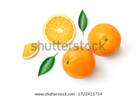 Flat lay (top view) of Fresh orange fruit with sliced and green leaves  isolated on white background.
