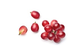 Flat lay (top view) of red grape on white background.