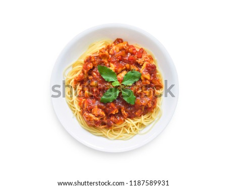 Flat lay (top view) Spaghetti bolognese on the white plate isolated on white background with clipping path