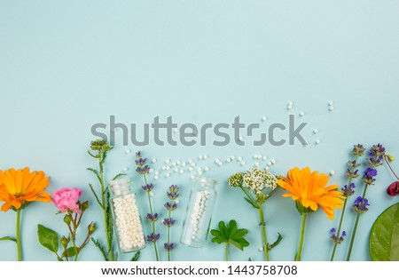 Flat lay view homeopathic medicine pills in jars and spilled around on light blue background, decorated with fresh various herbs and plants, flowers. Homeopathy border background, lot of copy space.