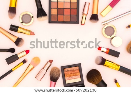 Flat lay view of cosmetic beauty retail products on white background. Text space image. - Image