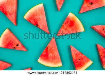 Flat lay, watermelon on green background, top view, food and nutrition concept. - Shutterstock ID 719852131