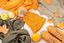 Flat lay with comfort warm outfit for cold weather. Comfortable autumn, winter clothes shopping, sale, style in trendy colors concept