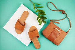 Flat lay with woman casual sandals for spring summer season. Fashion, trends and shopping concept