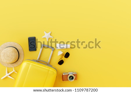 Flat lay yellow suitcase with traveler accessories on yellow background. travel concept #1109787200