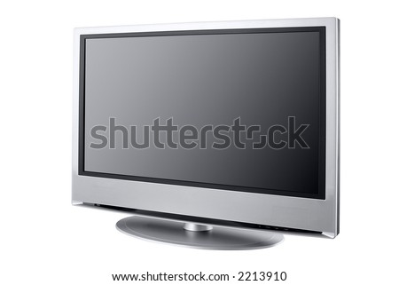 flat LCD television isolated on white,