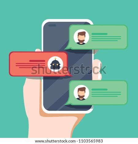 flat linear illustration in green colors chatbot concept virtual assistant AI and online support. Android assistant and automatic customer service bot. Artificial intelligence communication.