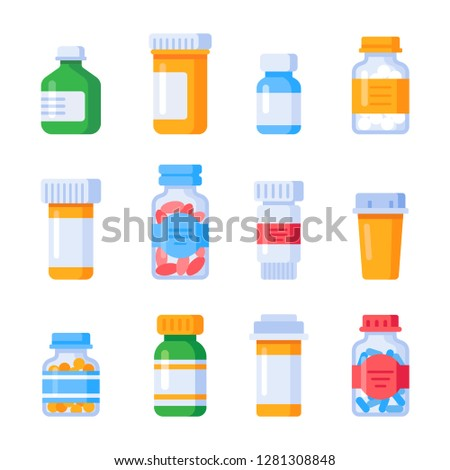 Flat medicine bottles. Vitamin chemical bottle with prescription label, drug pills therapy container or mixture vitamins and minerals pill capsule pharmacology colorful isolated  icons set