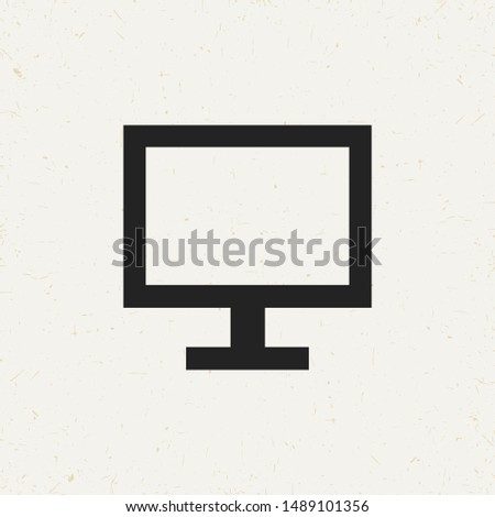 Flat minimal monitor icon. Simple raster monitor icon. Isolated monitor icon for various projects.