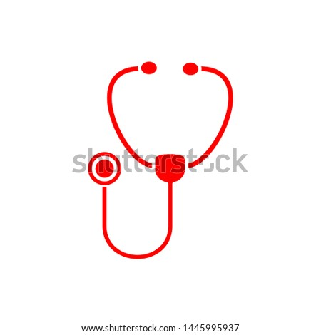 Flat minimal stethoscope icon. Simple raster stethoscope icon. Isolated stethoscope icon for various projects.