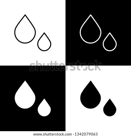 Flat monochrome drops symbol set for web sites and apps. Minimal simple black and white drops symbol set. Isolated drops symbol set for various projects.