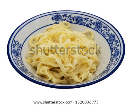 flat noodles in a white and blue plate isolated isolated isolated