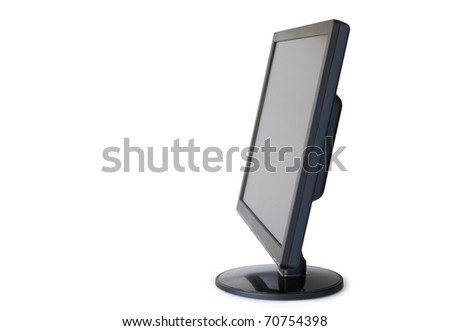 Flat panel monitor with a black screen on a white background.