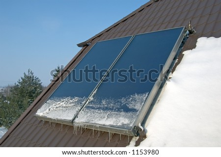 Flat-plate solar collector on the roof #2