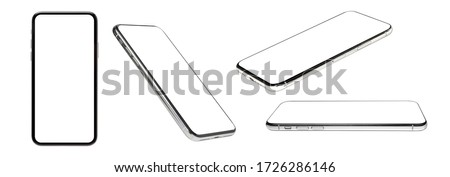flat rays ,collection of smartphone mockup blank screen isolated with clipping path on white background