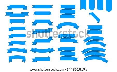 Flat ribbons banners flat isolated on white background, Illustration set of blue tape
