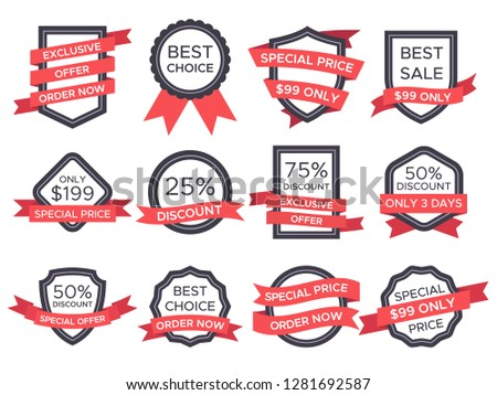 Flat sale badge. Retro emblem ribbon banners and old victorian labels special price promotion logo. Vintage sales badges discount and ribbons modern label badging  illustration isolated icon set