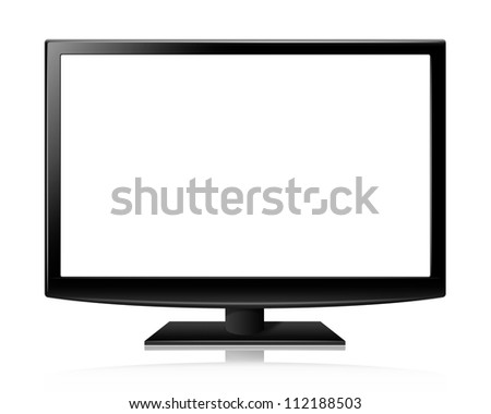 Flat screen tv lcd or led realistic illustration with blank screen