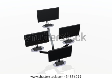 flat screens tv, digital tv, power on monitors, stack of computer monitors, tv stand, tv commercials,  plasma tv, tv systems, top view of some monitors on shelves