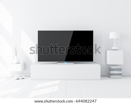 Flat Smart Tv Mockup on stand in modern white living room. 3d rendering