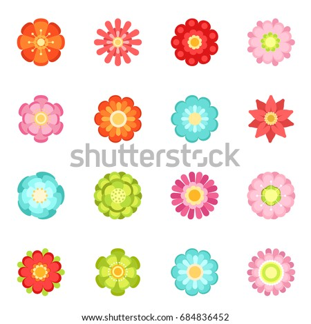 Flat style different flowers in garden. Summer icon set isolate on white background #684836452