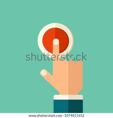 Flat style illustration. Man finger push red button switch. The hand presses the electrical switch. #1074811652