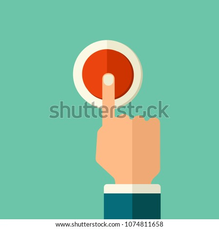 Flat style illustration. Man finger push red button switch. The hand presses the electrical switch. #1074811658