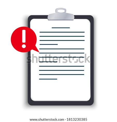 Flat tablet with a clip, important information is written on a paper document, pay attention, alert with an exclamation mark, a reminder not to forget. Vector illustration on a white background. Stock photo ©