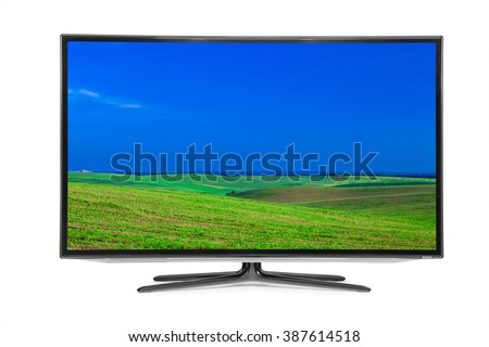 flat television on the white backgrounds. 4k monitor