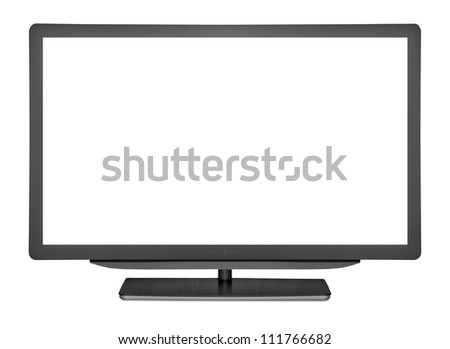 flat television on the white backgrounds.  monitor computer