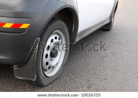 flat tire on the road