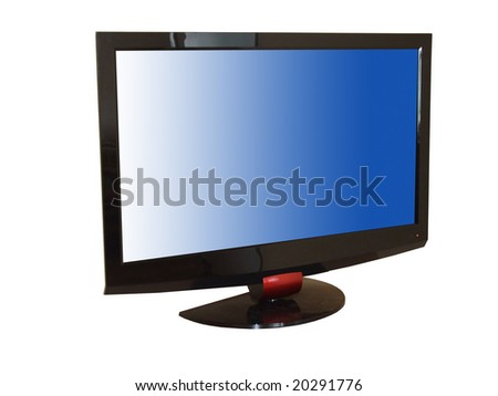 Flat tv set isolated n white, with clipping path insaid and outside