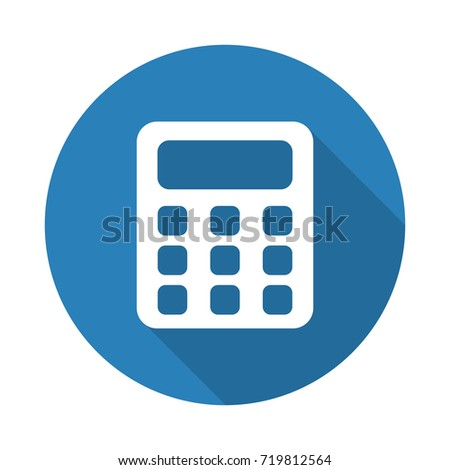 Flat white Calculator web icon with long drop shadow on blue circle