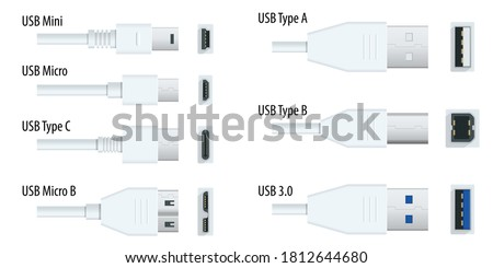 Flat white usb types port plug in cables set with realistic connectors. Connector and ports. USB type A, type B, type C, Micro, Mini, MicroB and type 3.0