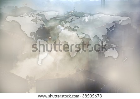 flat world map and air pollution image of houses and smoke