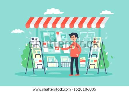 Flat young man newsagent in newsstand sells newspapers. Concept market, sale of magazines. illustration.