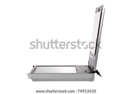 Flatbed scanner isolated on white background