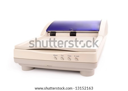 Flatbed scanner with automatic document feading system isolated on white background