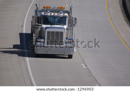 Flatbed Semi Truck Front View with Copy Space